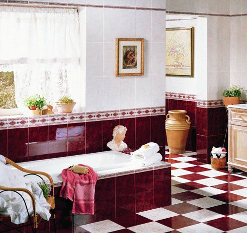 burgundy bathroom, traditional red bathroom, red and white tile