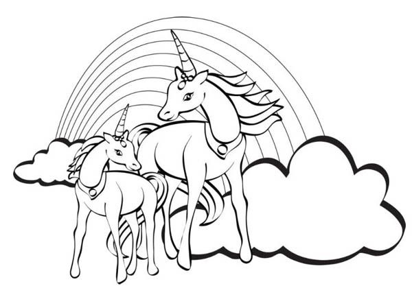 Two Unicorn With A Rainbow At Their Back Coloring Page Horse