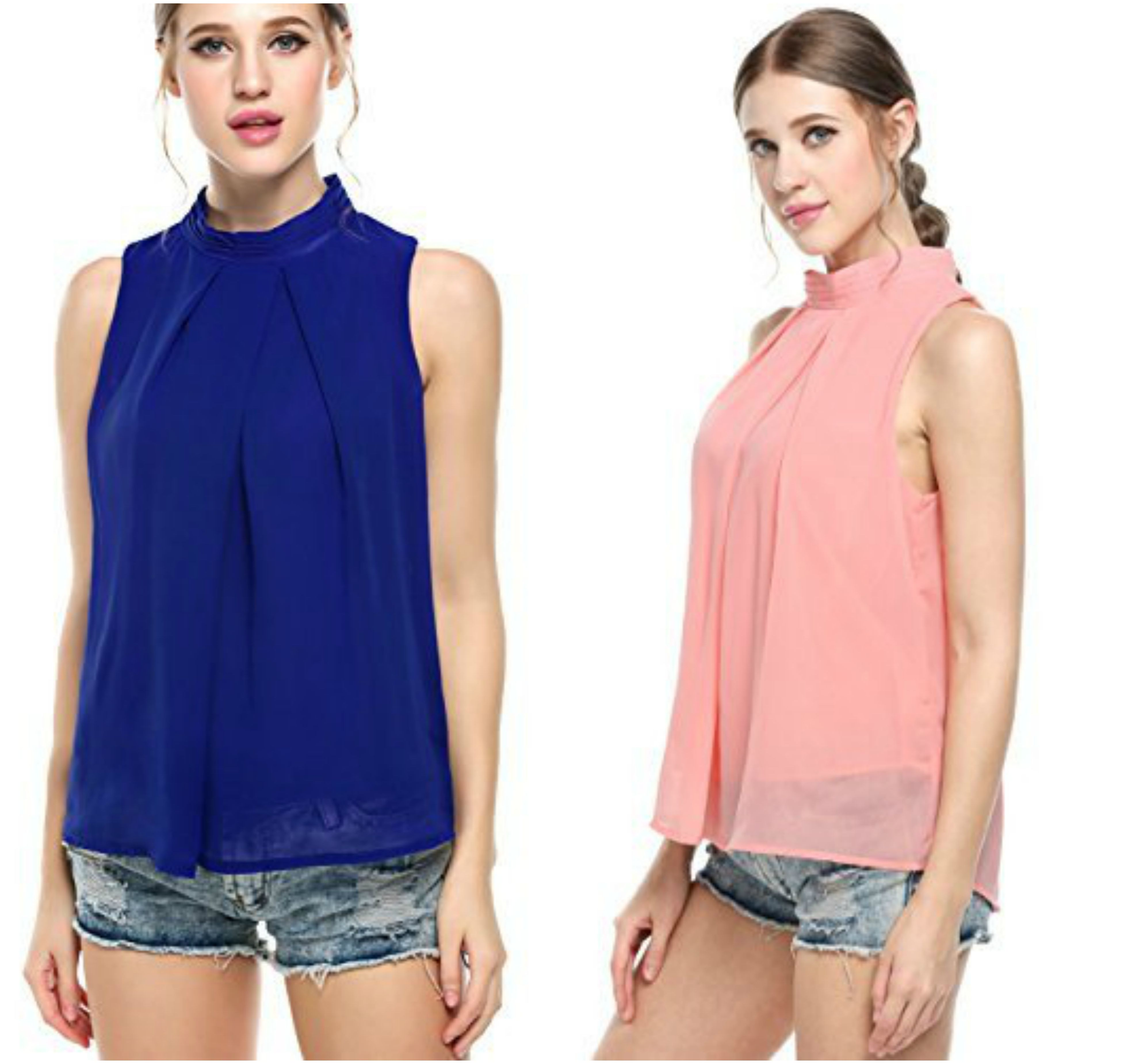 3d893088d76b25 Halife women's casual pleated front sleeveless high neck chiffon blouse tops .