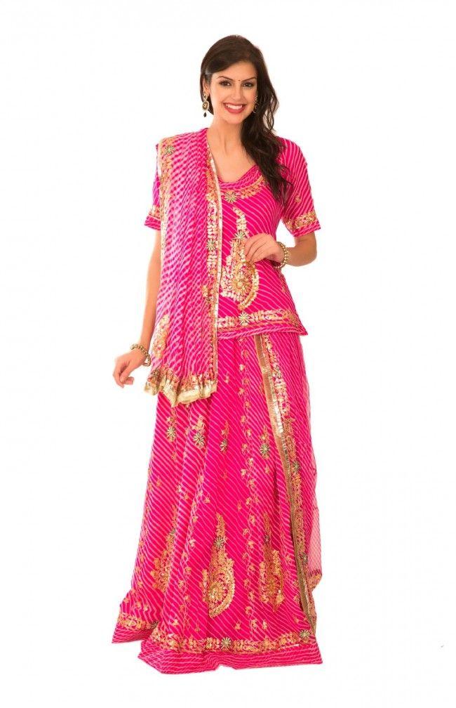 8dfe90b304 Ranas Pink Georgette Aari Tari Resham Salma Gota Patti Work Rajputi Poshak