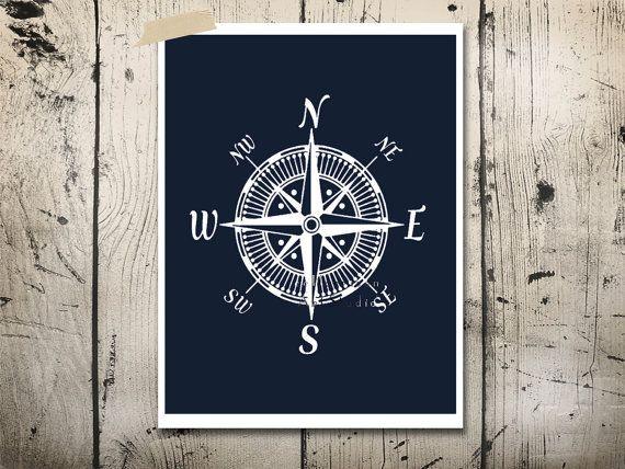 Nautical compass art print Modern nursery art Cottage beach house decor Bedroom wall art Navy Blue Boys room art on Etsy, $12.00