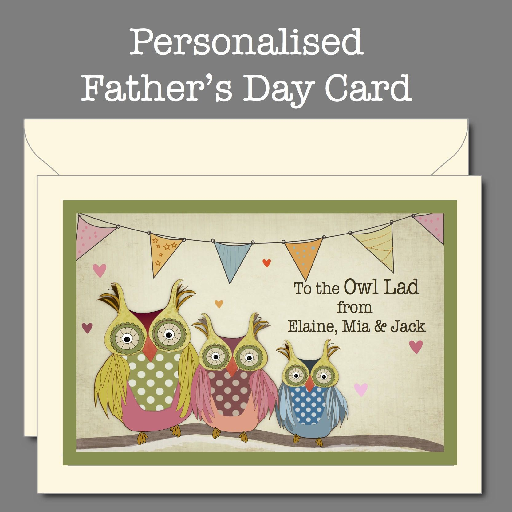 father s day card from all the family owl family card owl card for