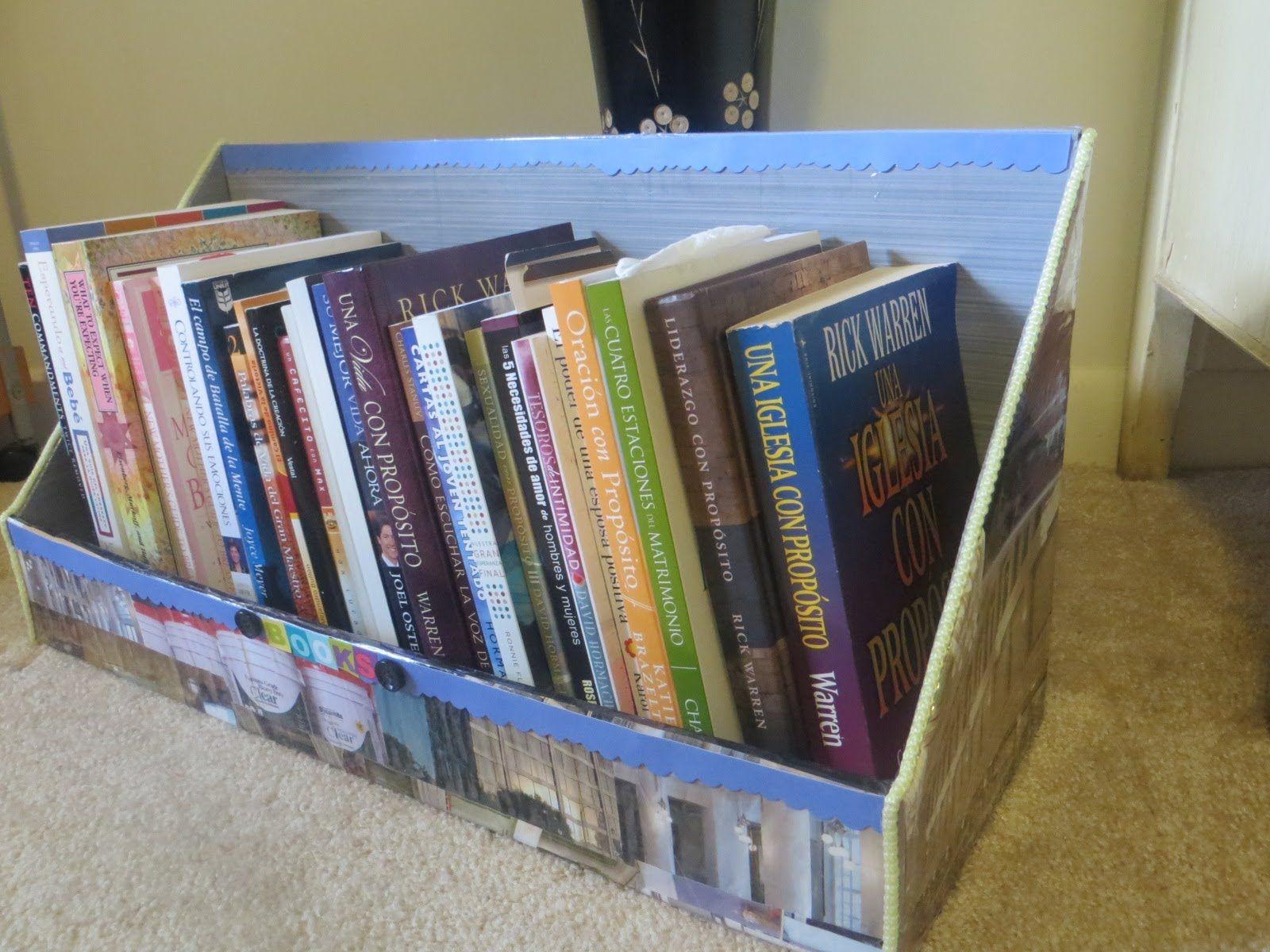 Organizador para libros y cuadernos reciclando cart n y for Mueble organizador infantil
