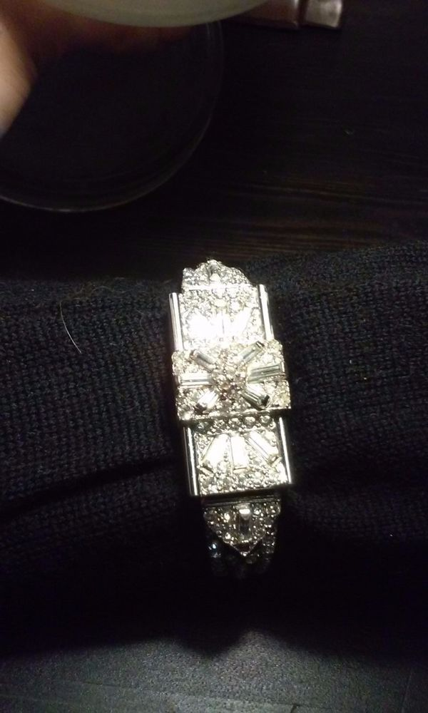 Vintage Ornate Crawford Statement Watch with Bueguetts and Round Rhinestones #Crawford