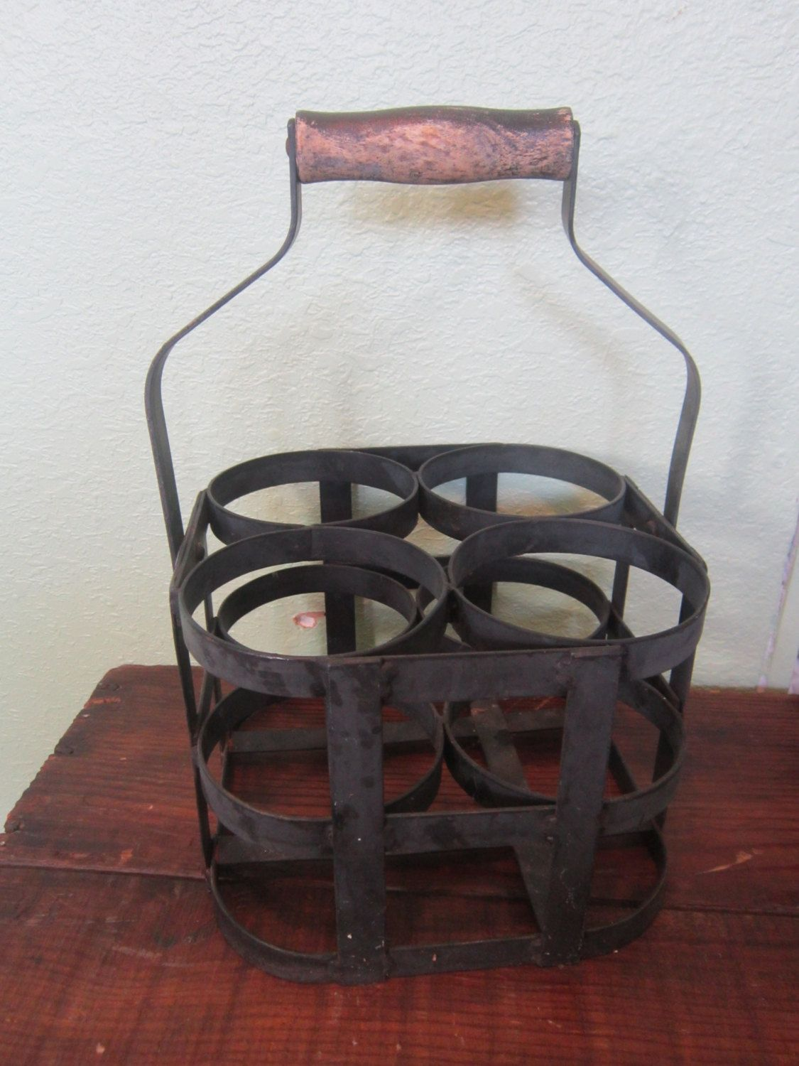 Wooden Crate With Handles Vintage Bottle Holder Crate Wooden Handle Wrought Iron Black