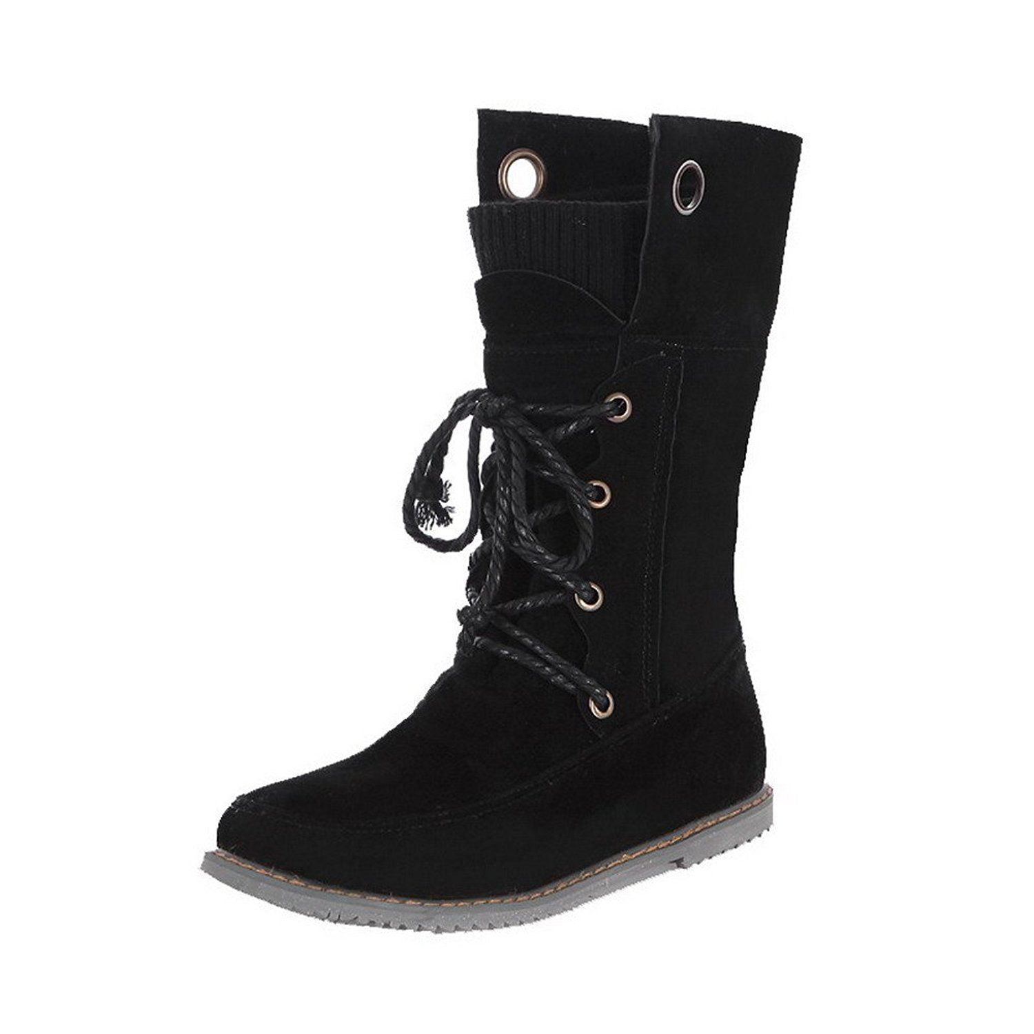 Women's Round Closed Toe Low-Top Low-Heels Solid Imitated Suede Snow-Boots