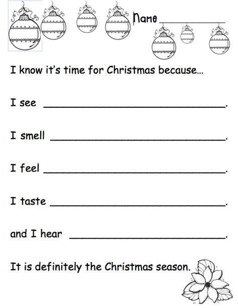 5 Sense Christma Holiday Writing Prompt Activities Essay