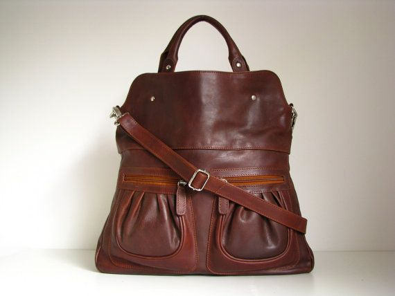 Leather Handbag Tote In Vintage Brown By Theleather On Etsy 150 00