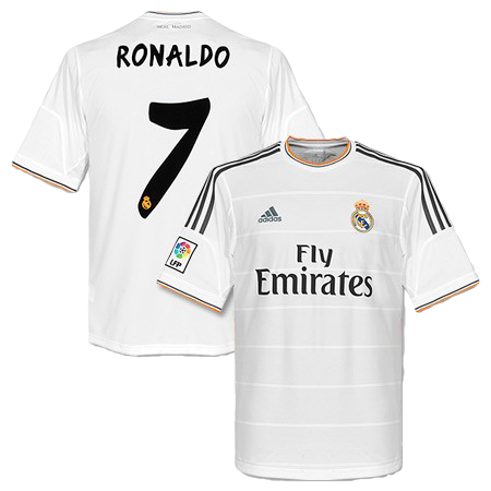 32aa5d12efe Cristiano Ronaldo Real Madrid Home Jersey Shirt Uniform kit 2013 14 - Adidas  and Fly Emirates sponsorship