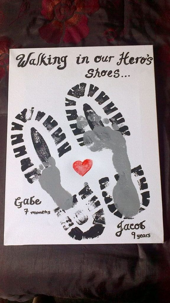 29 Footprint Of Father And Son With Heart Slogan Walking In My Heros Shoes