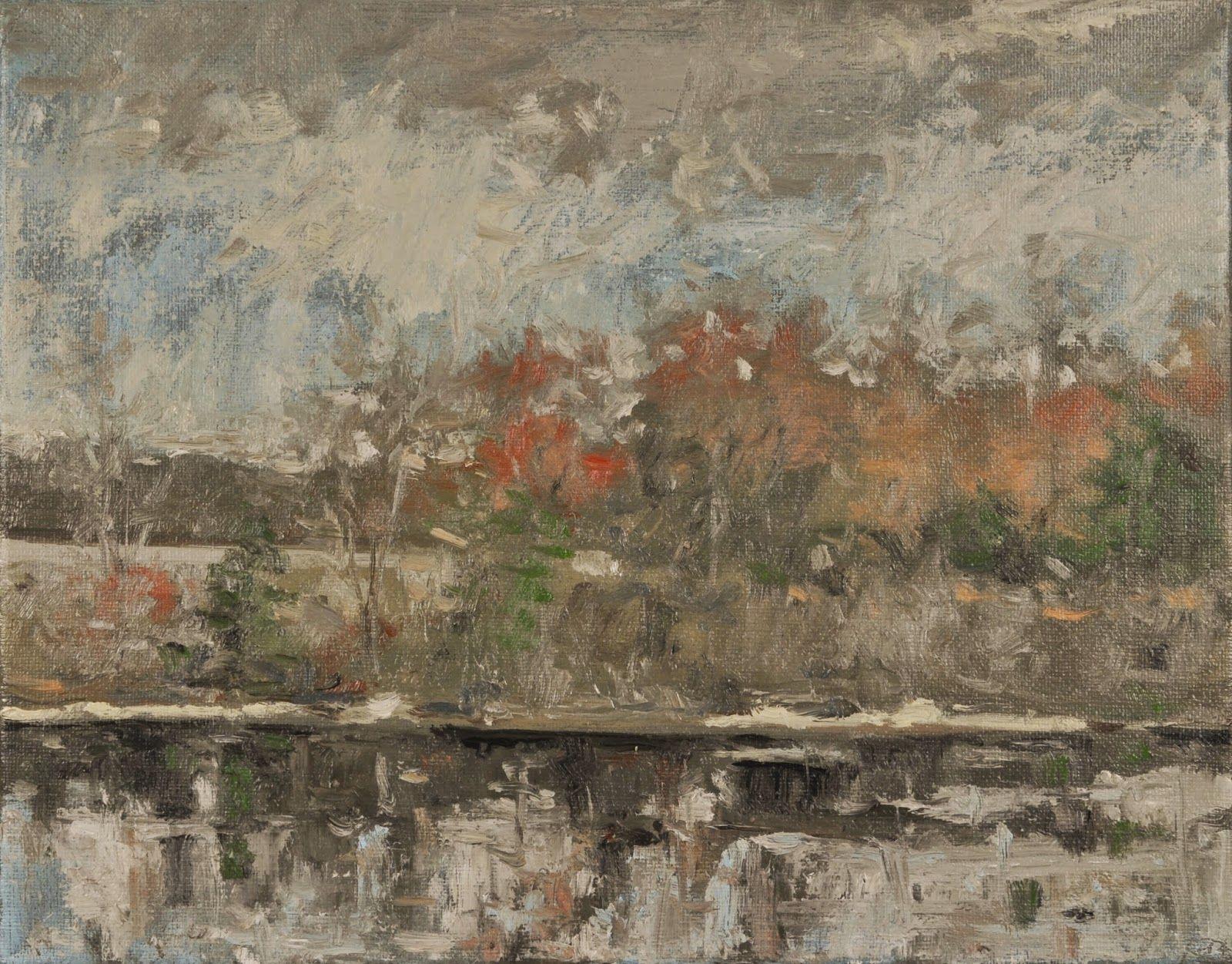 "Raymond Berry: Luck's, Light Rain, Spring Colors, March 25, 2015, Oil on Canvas, 11"" x 14"""