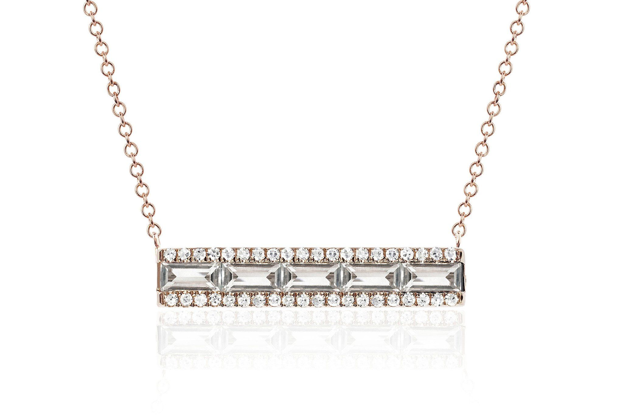 EF Collection White Topaz Baguette Mini Bar Necklace in Metallic Gold 1gRXs7O7tQ