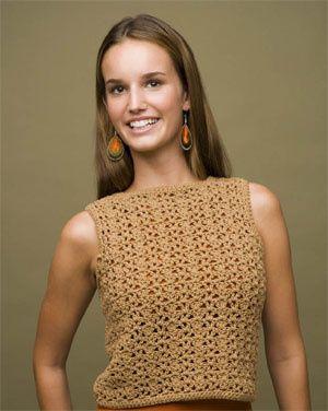 crochet top INTERMEDIATE level instructions V-Stitch Shell