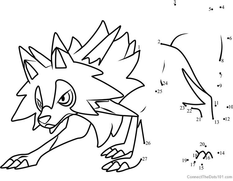Lycanroc Midday Form Pokemon Sun And Moon Dot To Dot Kleurplaten