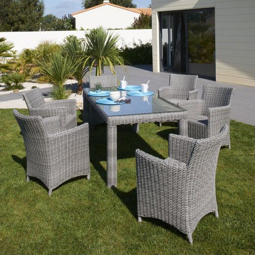 Salon de jardin en r sine tress e table 6 fauteuils for Petit salon de jardin resine