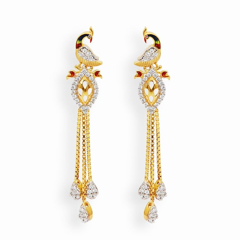 Holi Collection | Elegant Peacock Earrings | GRT Jewellers ...