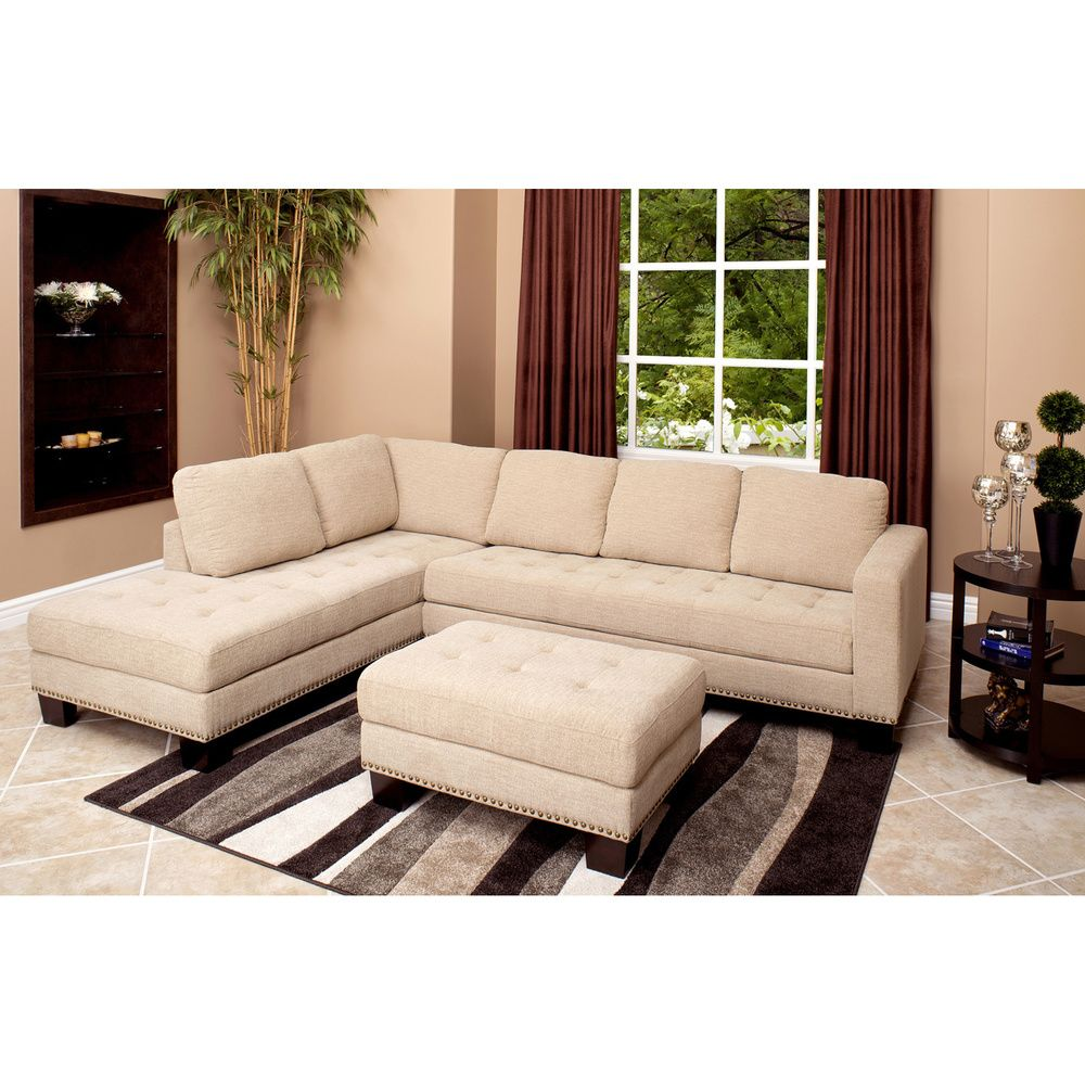 Abbyson living claridge fabric sectional and ottoman set by abbyson