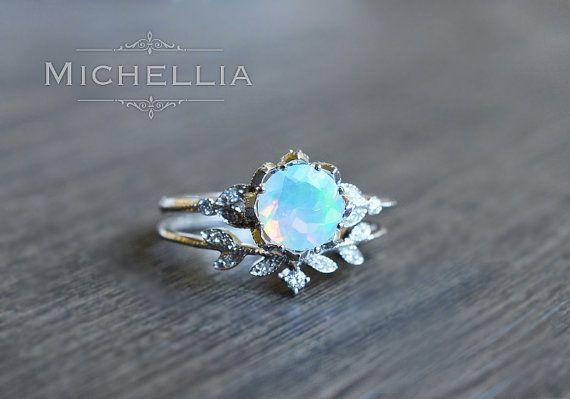 Evanthe Opal Engagement Ring Vintage Floral Opal Ring Opal Vintage Opal Engagement Ring Engagement Rings Opal Floral Engagement Ring