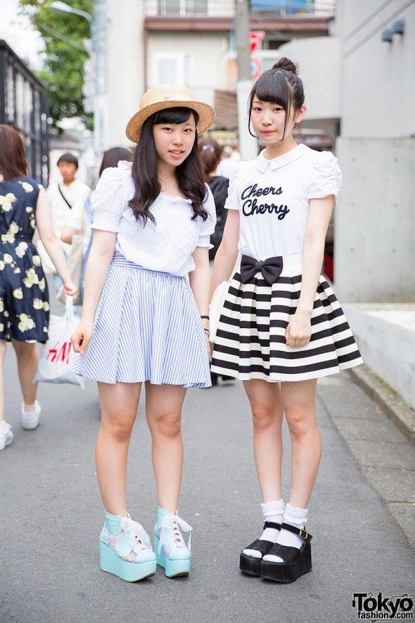 Harajuku Girls in Striped Skirts