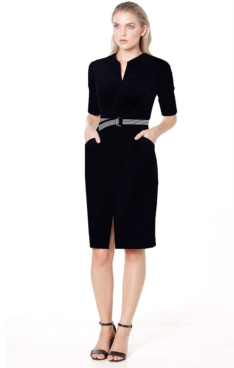 171293460e6 Shop All Solutions - FITTED 3 4 SLEEVE STRETCH BENGALINE BELTED DRESS WITH  FRONT SPLIT IN NAVY