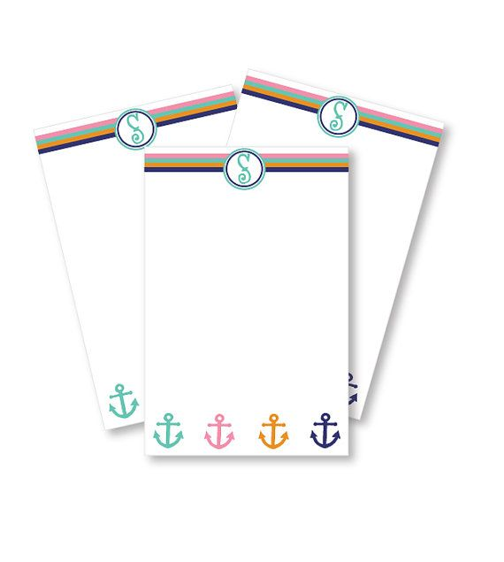 personalized notepad anchor with initial take a note pinterest