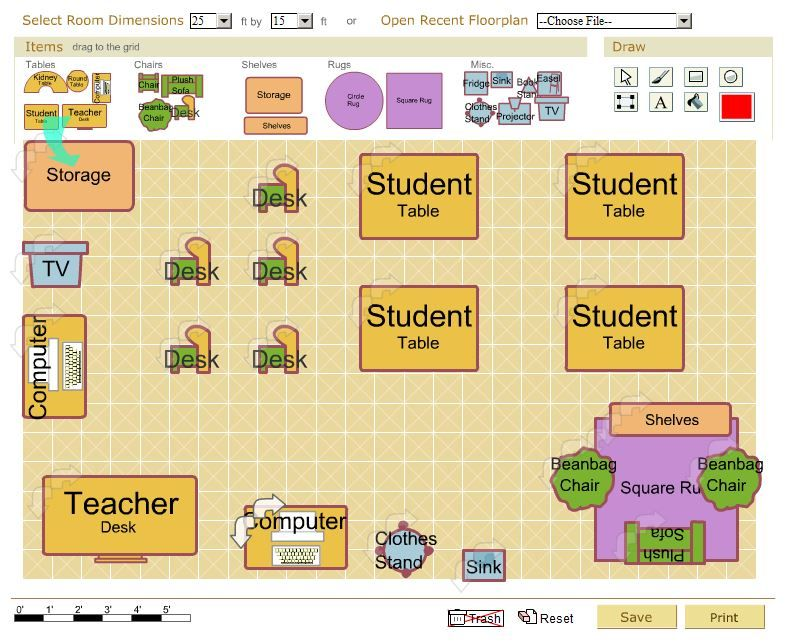 School Classroom Design Guide ~ Free classroom architect tool design your