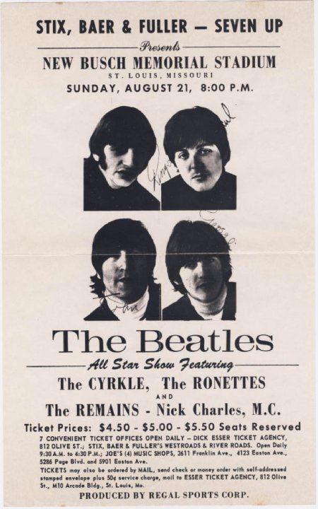 1966 BEATLES *BUSCH MEMORIAL* CONCERT POSTER