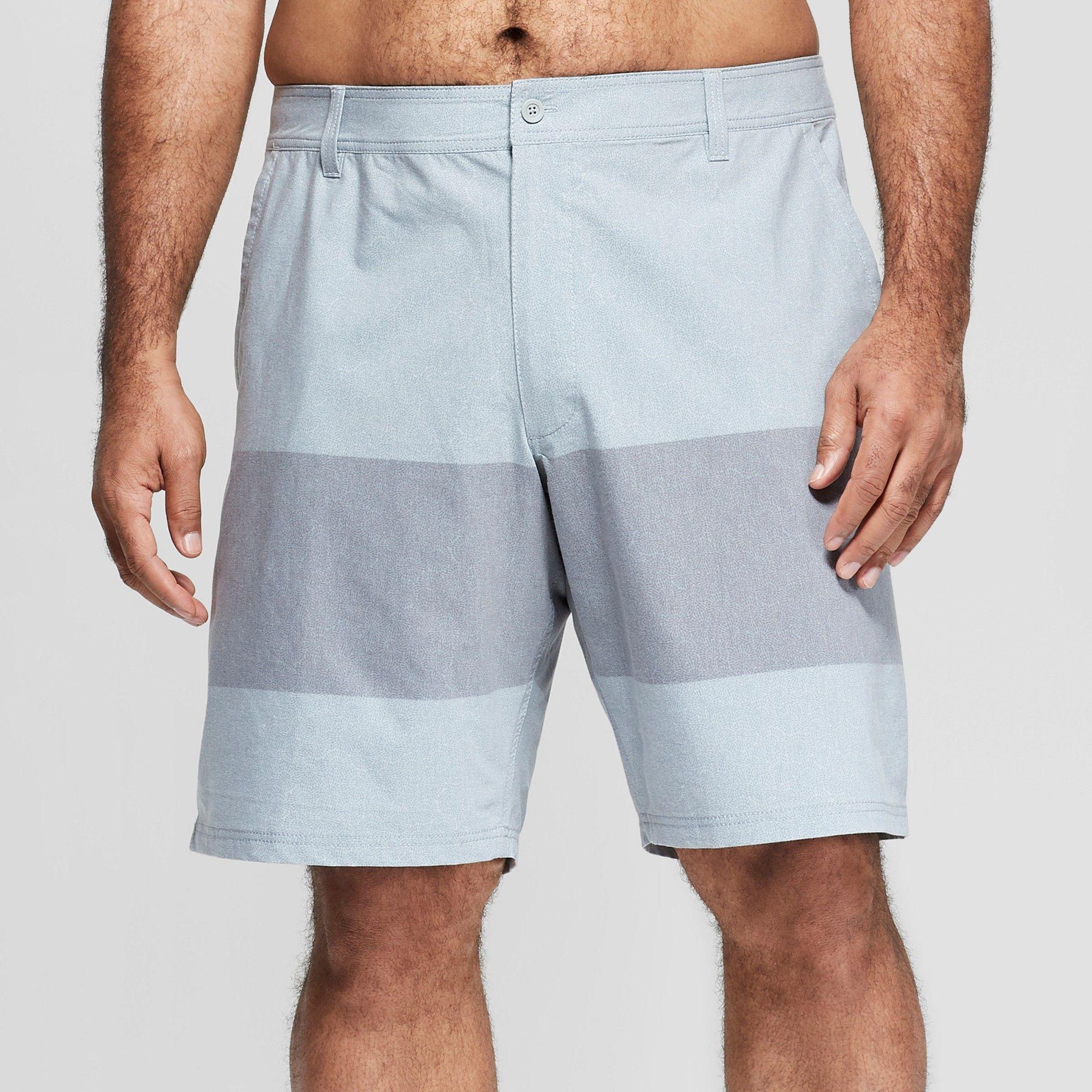 33b453c03e Men's Big & Tall 10.5 Striped Hybrid Swim Shorts - Goodfellow & Co Gray 50