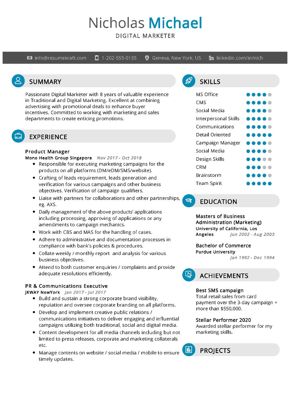100 Professional Resume Samples For 2020 Resumekraft Marketing Resume Digital Marketing Resume