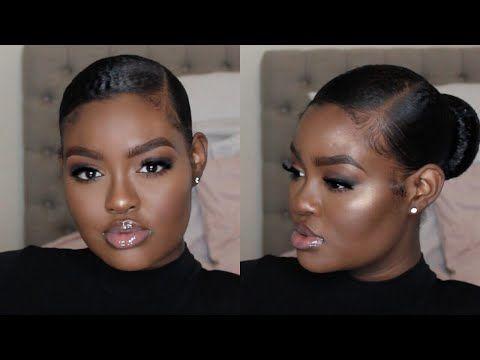 Sleek Slicked Back Bun Laid Baby Hairs Tutorial Video Natural Hair Bun Styles Natural Hair Styles Hair Videos Tutorials