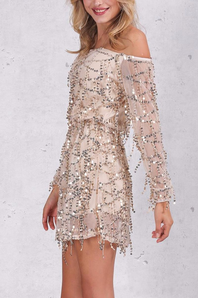 Sexy off shoulder prom dresssolid sleeve length party dress