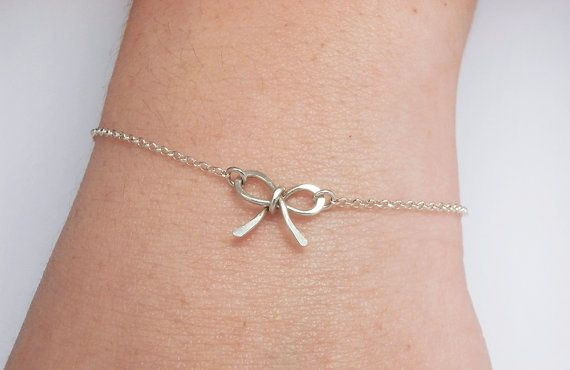 Tiny Bow Bracelet Chain Sterling Silver   For Her by LiuRokSilver, $25.00