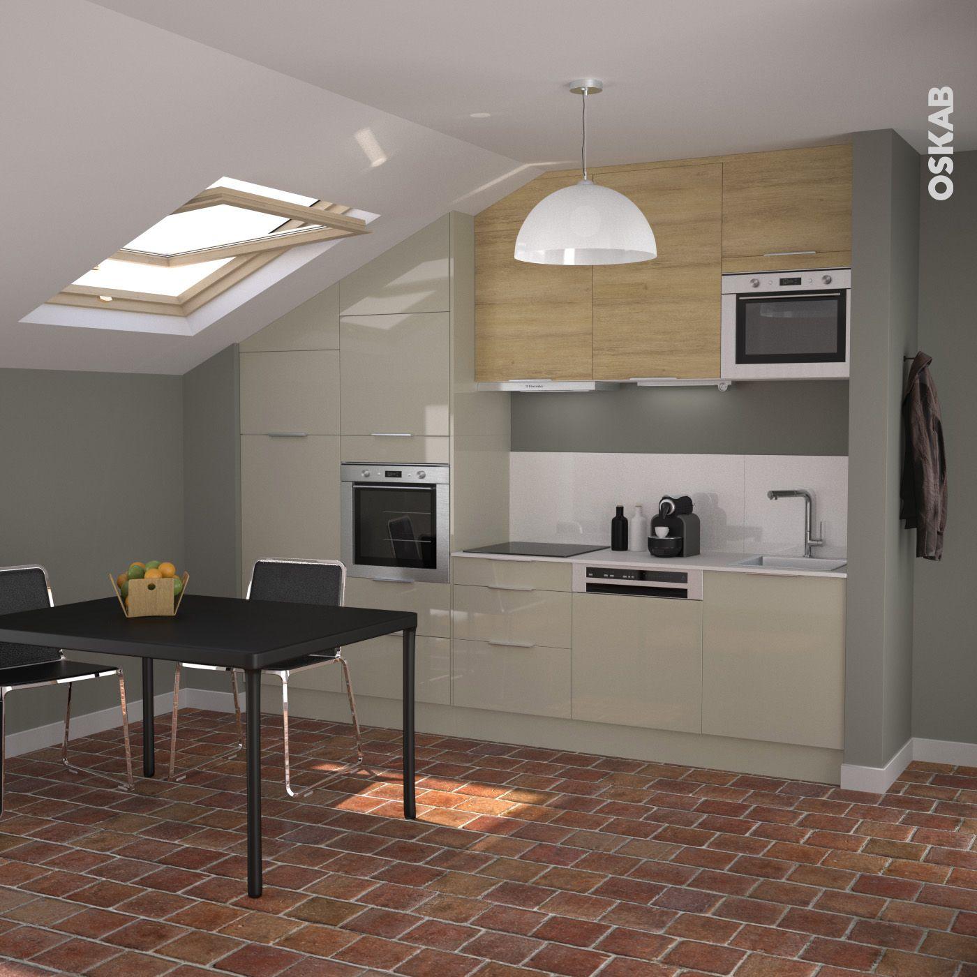 D co cuisine design bicolore d cor argile et bois ch ne for Cuisine inox design