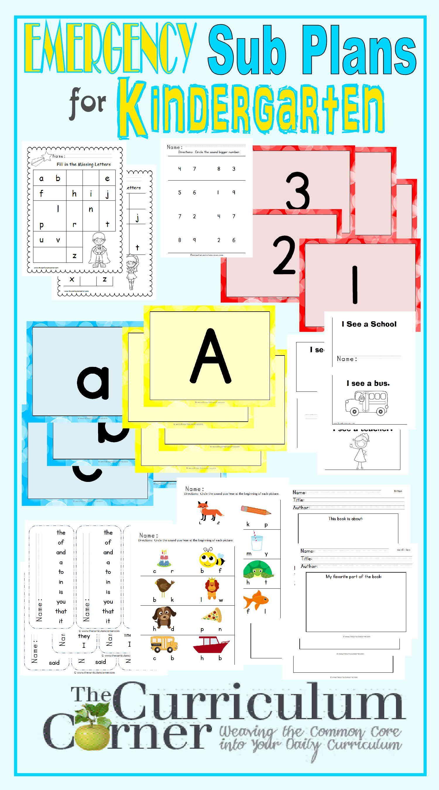 Kindergarten Emergency Sub Plans | Tk | Pinterest | Curriculums ...