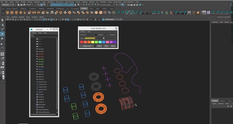 Autodesk Maya Color Marker v 2 0 a small Outliner management