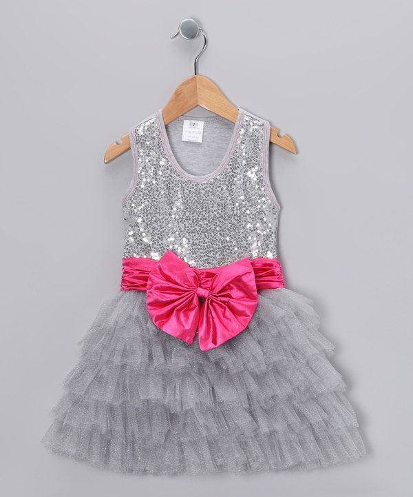 8e902dc15 Take a look at this Bébé Oh La La Silver Sequin Bow Tutu Dress ...