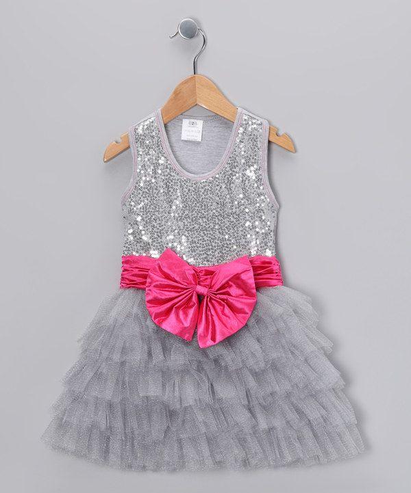 8e902dc15 Take a look at this Bébé Oh La La Silver Sequin Bow Tutu Dress ...