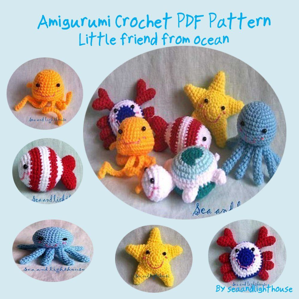 Little Friends From Ocean Amigurumi Crochet Pattern:Amazon:Kindle ...
