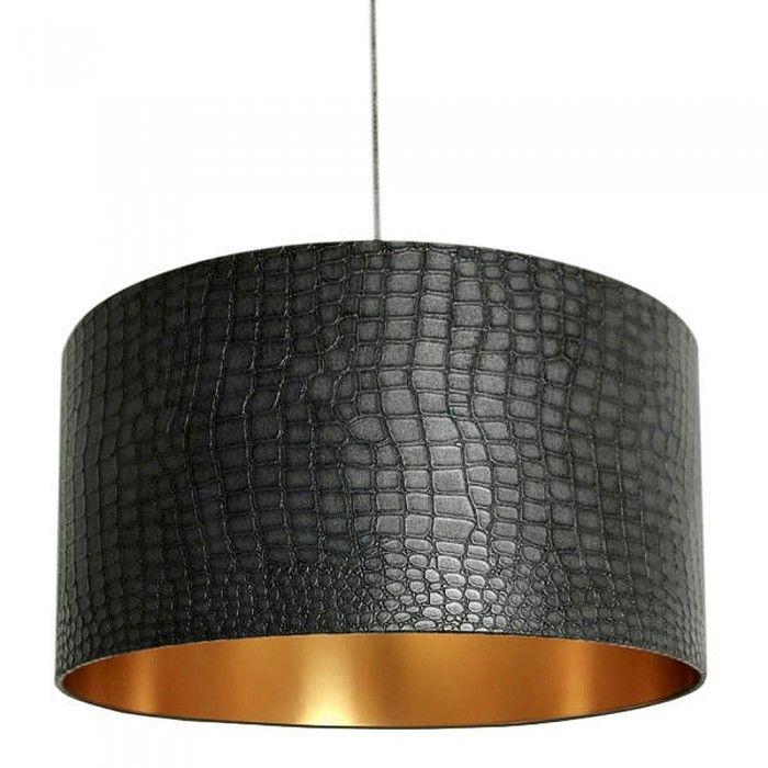Mock Crocodile Print Lampshade Black And Gold Lampshades Colorful Lampshades Drum Lampshade
