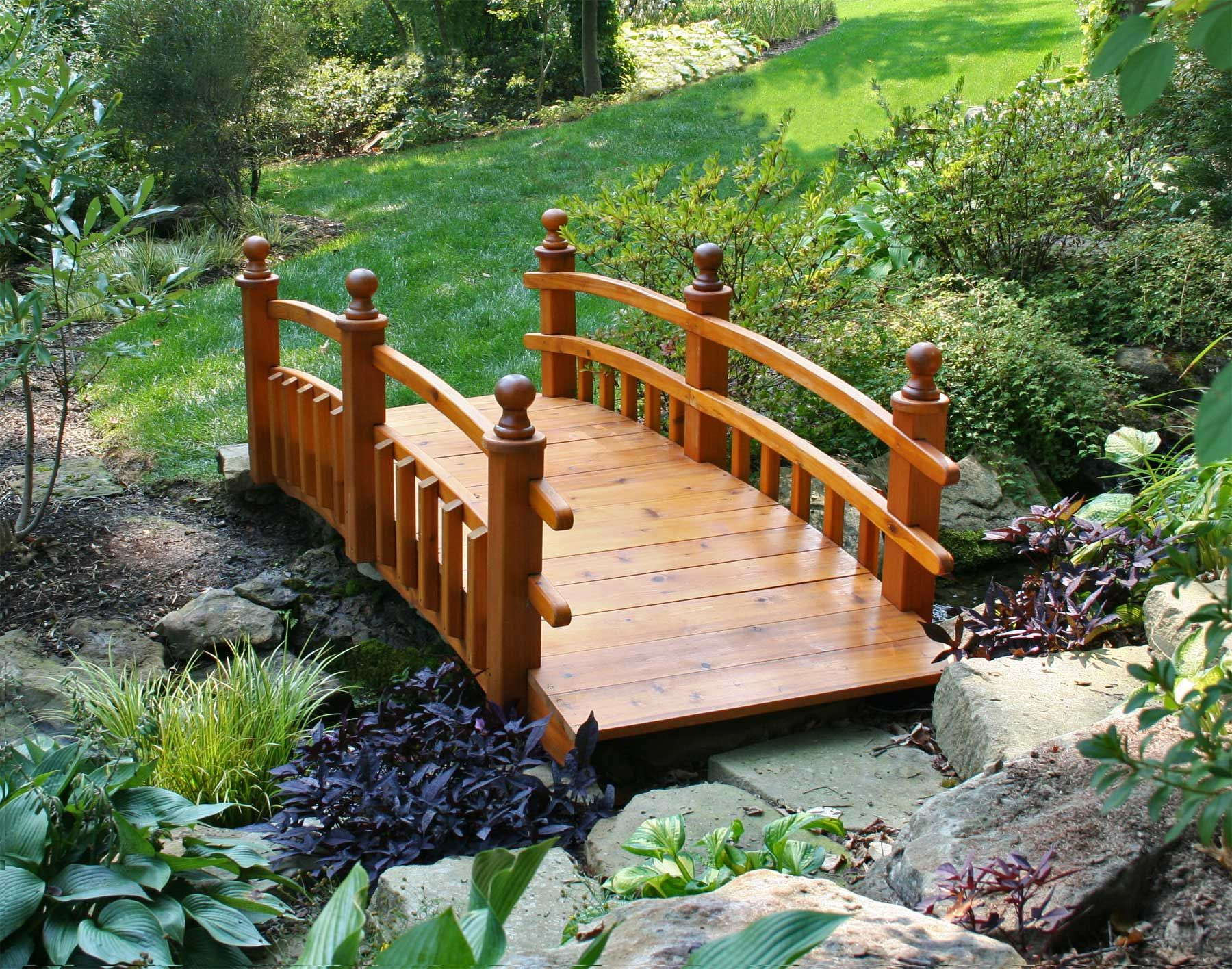 beautiful red cedar half picket rail bridge a beautiful accent for your backyard wonderland