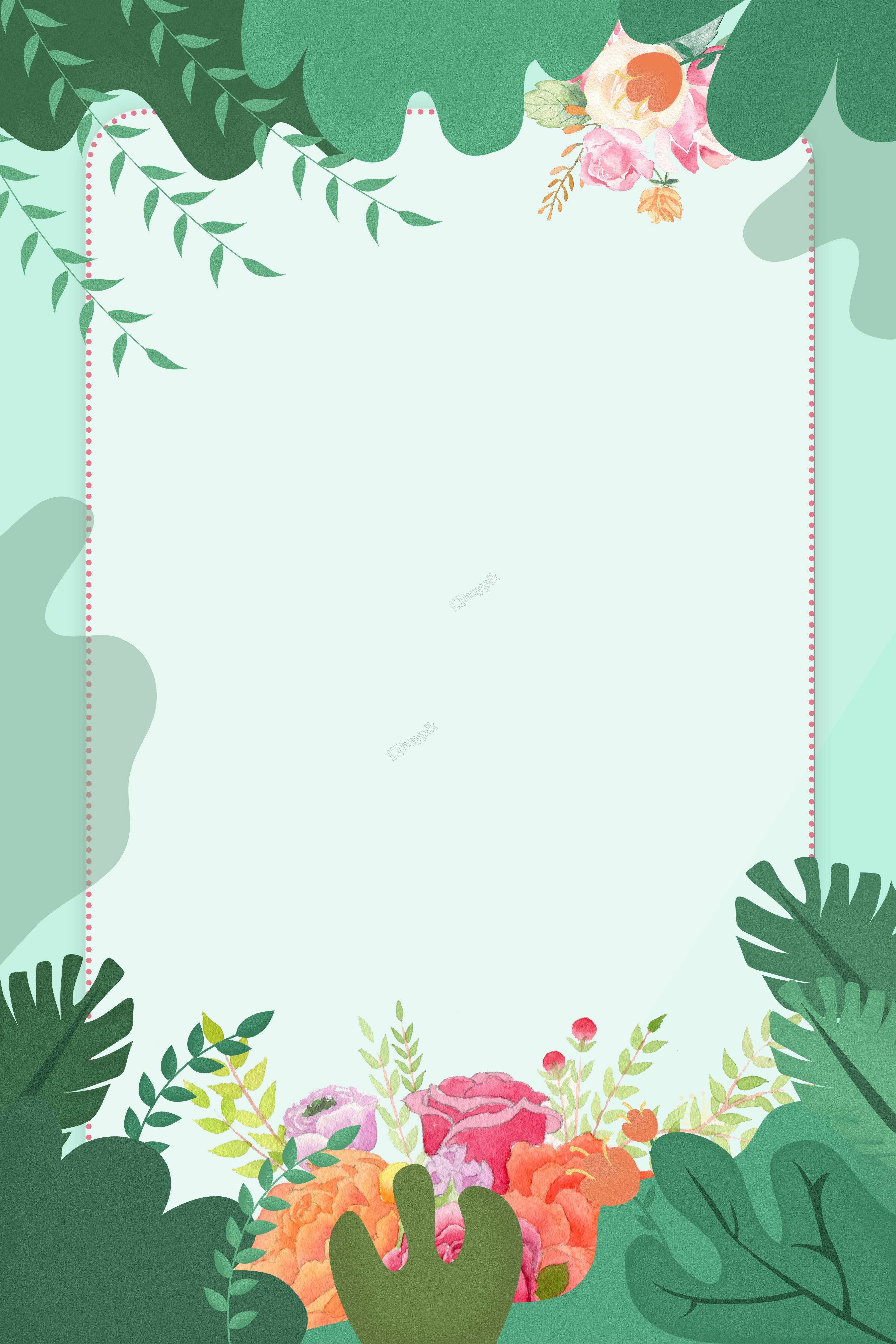 Download Floral Border Leaves Green Wedding Download HQ ... |Green Flower Border