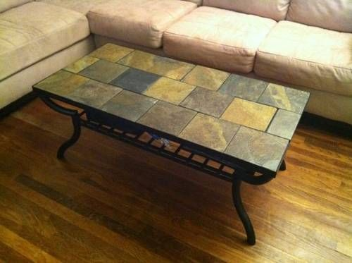 Slate Tile Table Top Tables Tiled Coffee Back Deck Wrought Iron
