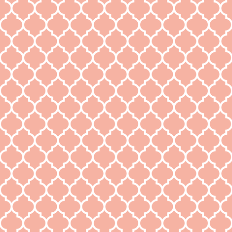 Quatrefoil Lattice In Pale Salmon Coral Pink Fabric By Spacefem On Spoonflower