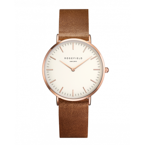 Tribeca Roségouden Dameshorloge - Bruine Leren Band | ROSEFIELD WATCHES