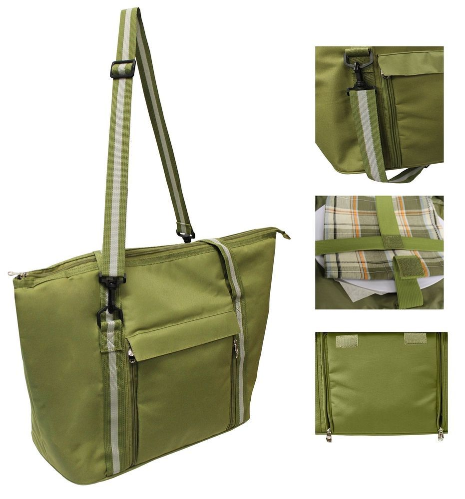 Lunch Tote Backpack Cooler w// Utensils and Plates Insulated Picnic Basket Set