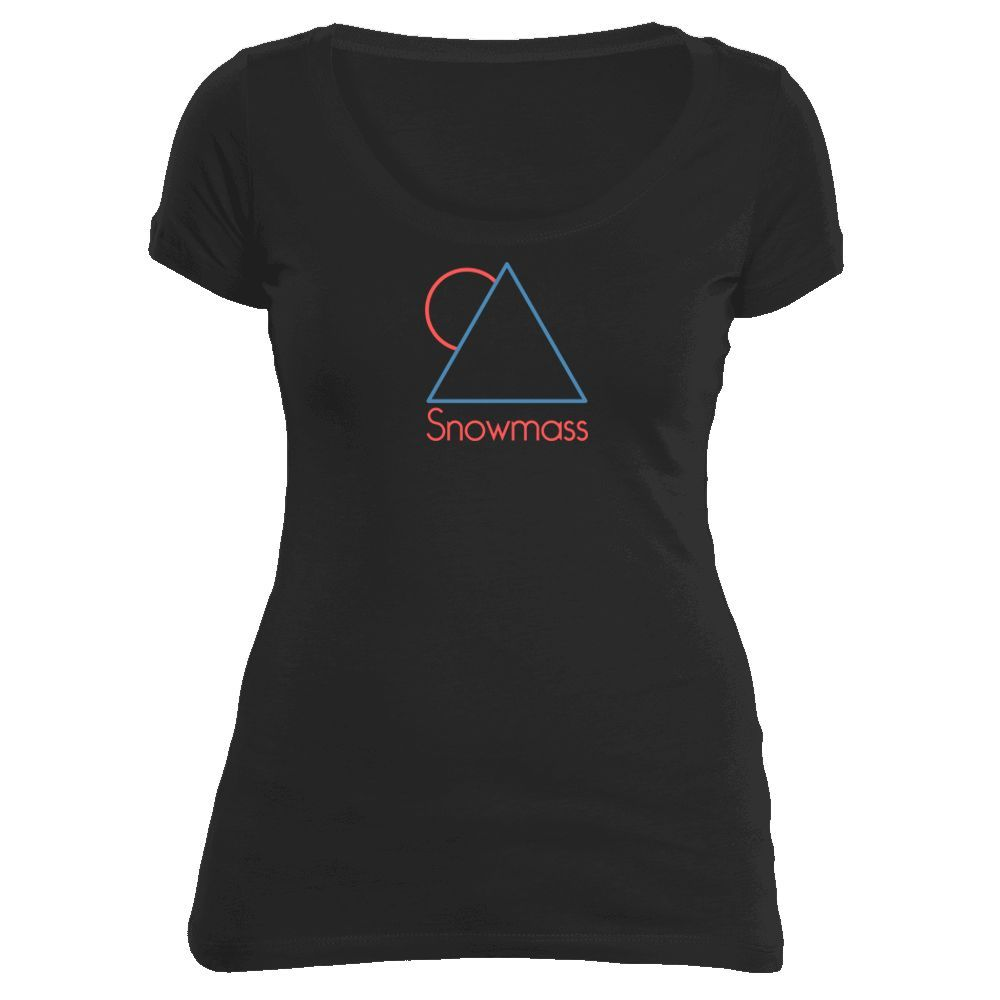 Snowmass, Colorado Minimal Mountain Sun in Red/Blue - Women's Scoop Neck T-Shirt