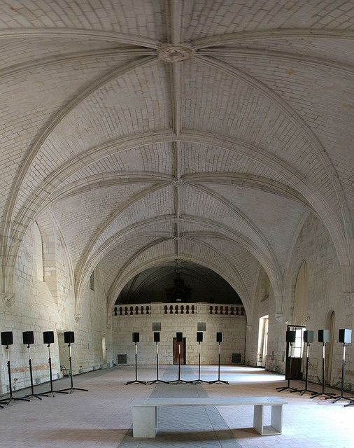 Janet Cardiff's Forty Part Motet installed in the refectory of the Fontevraud abbey, July 2009. It gives an incredible sound!    Panorama made from 4 pictures stitched with Hugin (mainly to compensate the fact I shot with a standard lens). Cropped with ...(Discover the latest #Art installations in     Manhattan with https://www.artexperiencenyc.com