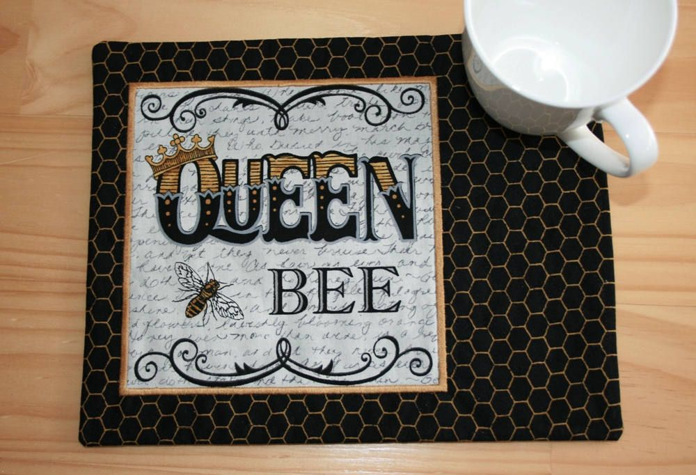 Queen Bee Mug Rug 165 by GreystoneCreations on Etsy Mug