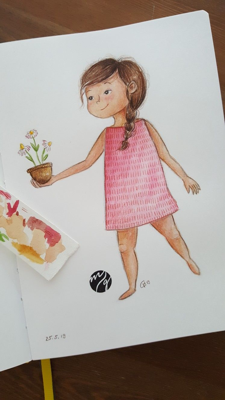 Illustration Kinderbuch Niedlich Pflanze Und Madchen Aquarell