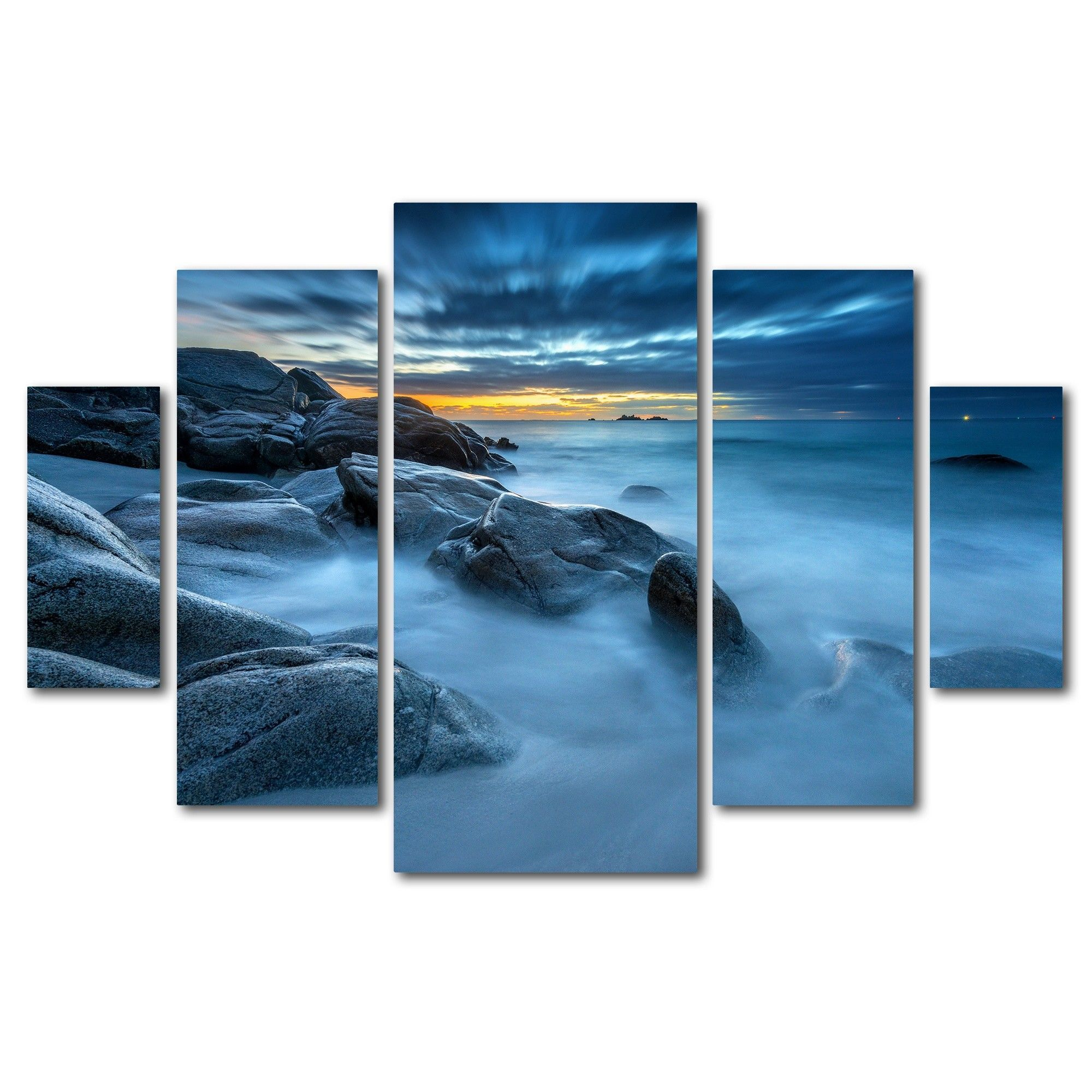 'Blue Hour for a Blue Ocean' by Mathieu Rivrin 5 Piece Photographic Print on Wrapped Canvas Set